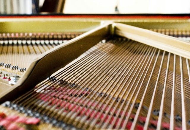 My 1956 Baldwin L. Plate and bass strings view from nose of the piano.  Photography by Ruben Cantu.