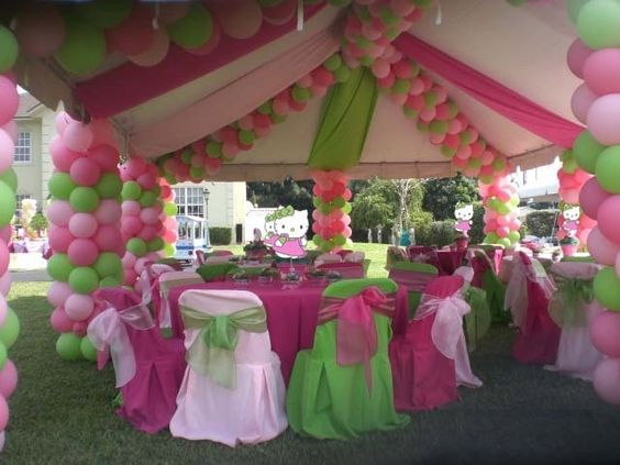 Pink Green Party Decorations Birthday Party Centerpieces Hello Kitty Birthday Party Hello Kitty Party Favors