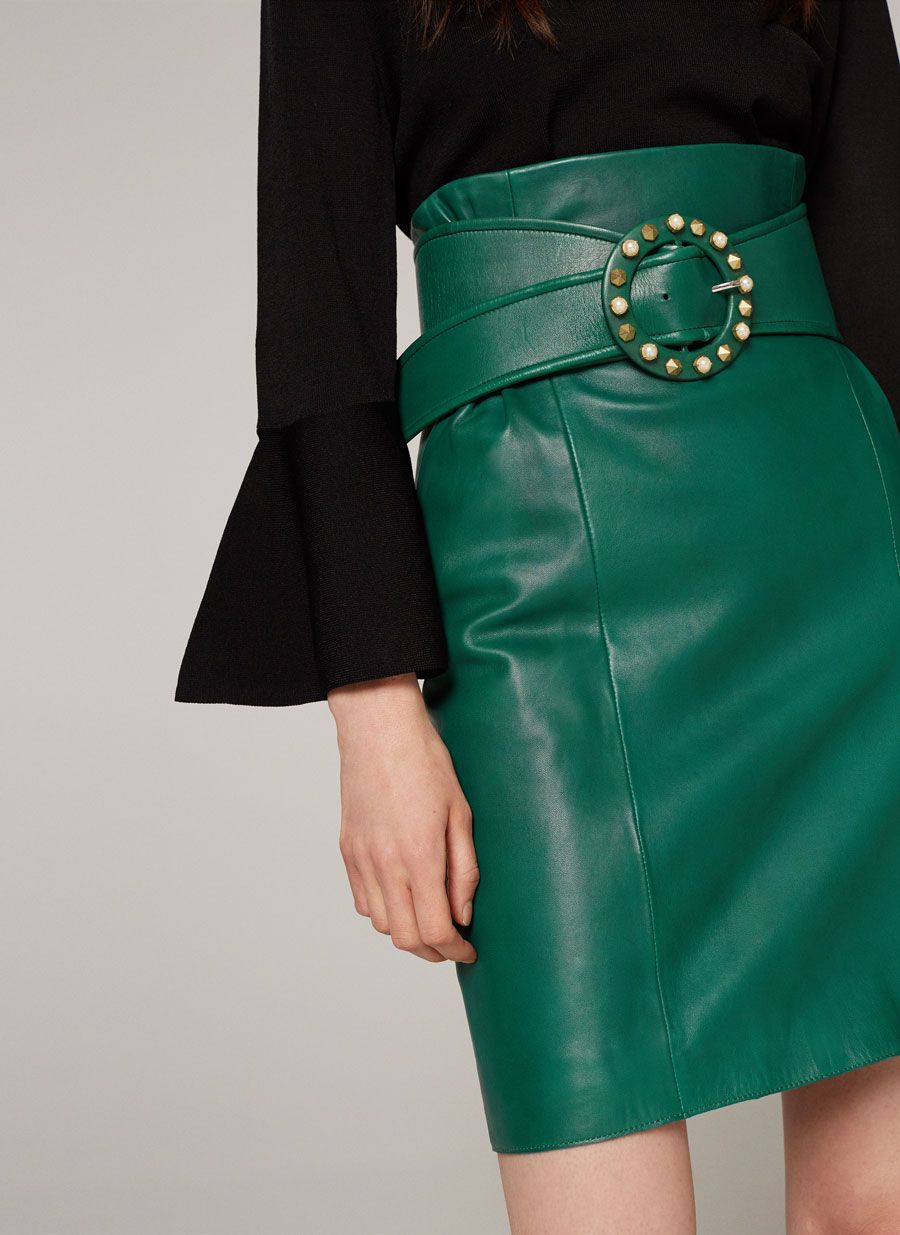 db95e04b7 Green leather skirt with belt in 2019   pinterest   Green leather ...