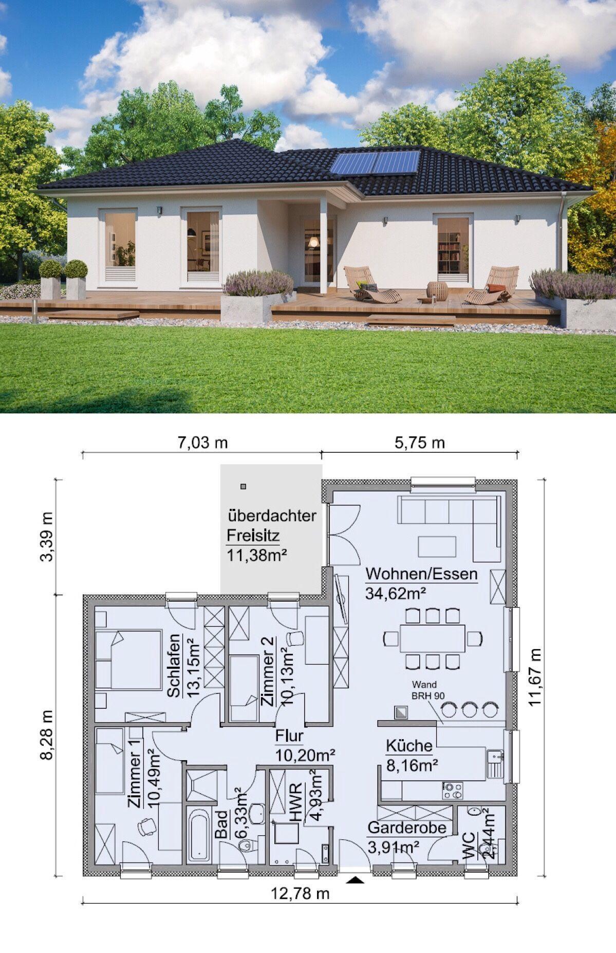 Bungalow Haus mit Walmdach Architektur & 4 Zimmer