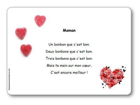 Poésie Maman Un Bonbon Que Cest Bon Poésie Fête Des Mamans