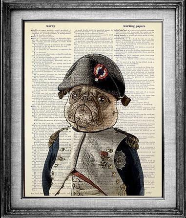 Pug In Uniform Dictionary Art Print Pug Art Print Pug Art