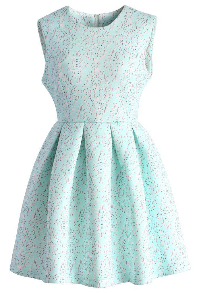 e031f95f13 Baby Blue Airy Baroque Skater Dress - Retro