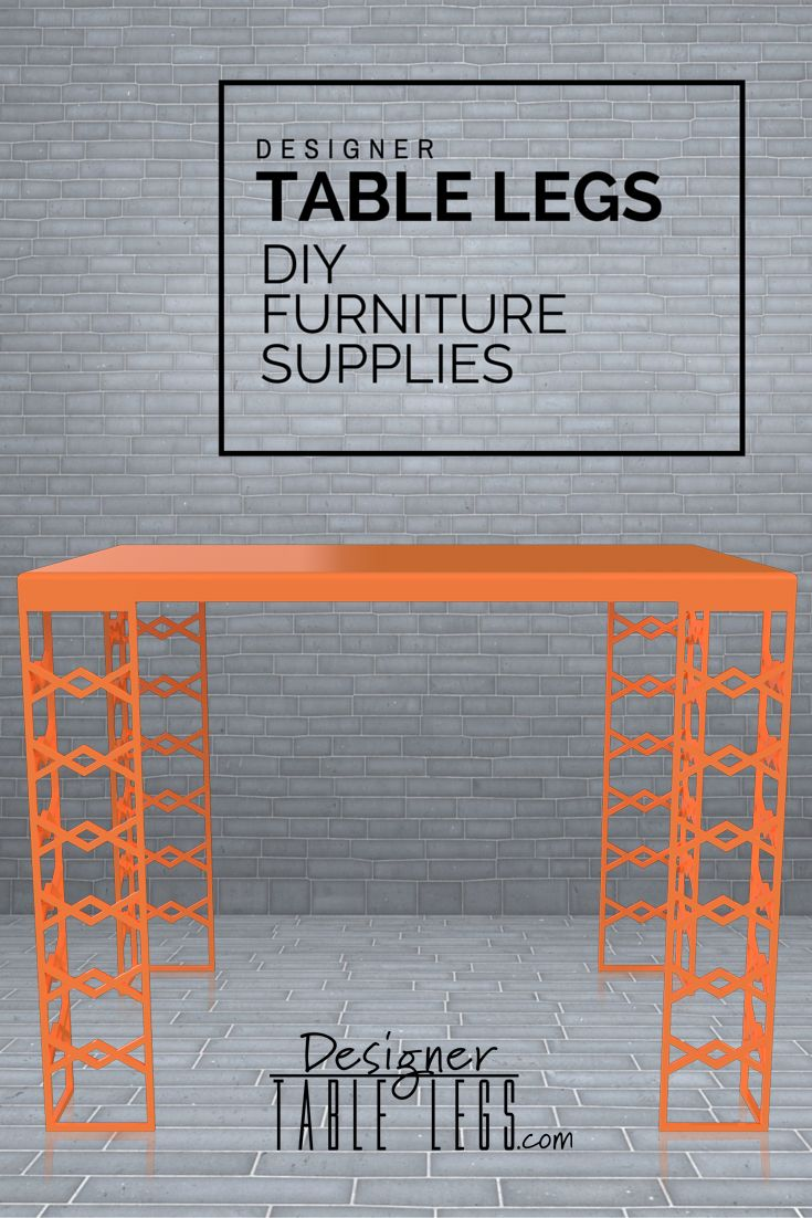 Splendor Zig Zag Orange Table Legs - DIY Furniture Supplies for Tables Desks - Interior Design Ikea Hacks - www.designertablelegs.com