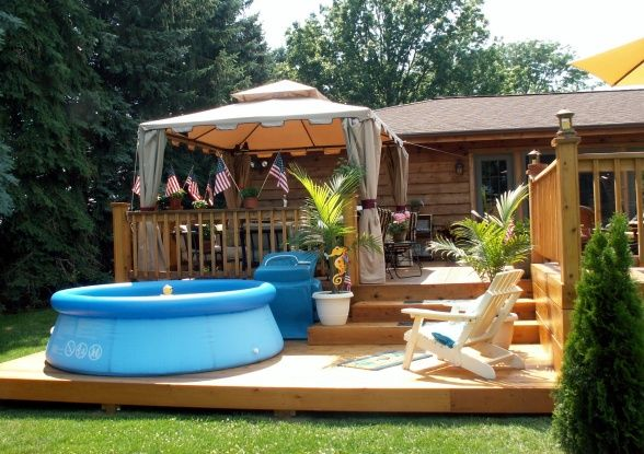 Pool Gazebo Ideas pool cabanas luxury perth poolside cabana Vacation At Home With This Amazing Multi Level Deck Pool And Gazebo