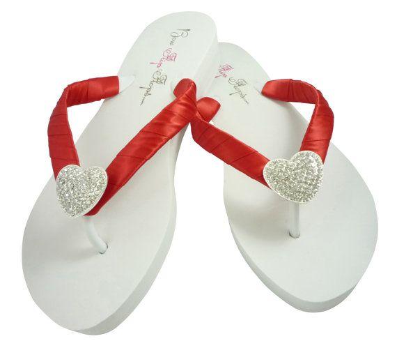 3ec25de59173 Wedding flip flops, Red Love and white heart bling flip flops for the  wedding for the bridesmaids, bride's shoes, bridal party thong sandals