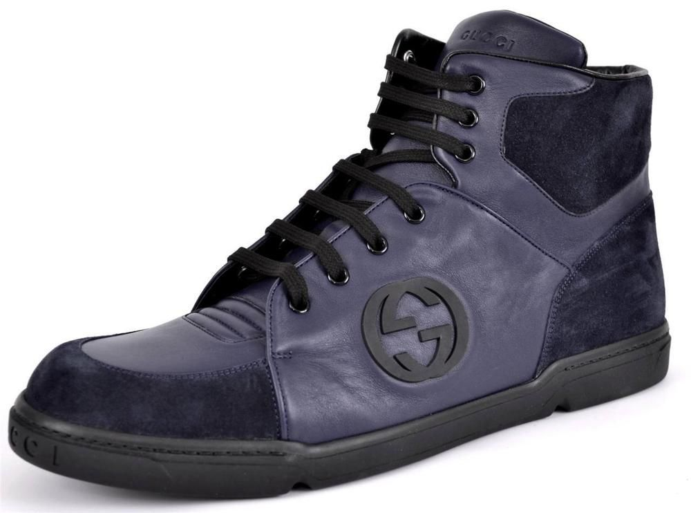 0505822996bf NEW GUCCI MEN S 363731 SOFTY TEK BLUE GG LOGO HIGH TOP SNEAKERS SHOES 13.5  14.5