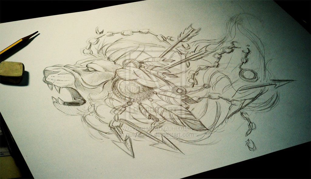 Deviantart Lion Warrior: Lion Warrior /process-commission-sketch/ By Quidames