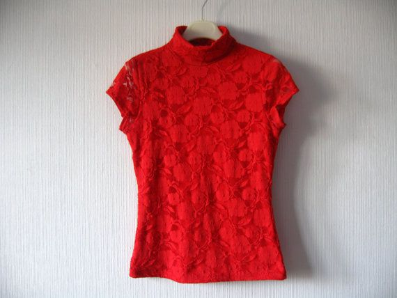 141cc802a80 Hot Red Lace Top Turtleneck Blouse Short Sleeve Shirt Medium Large ...