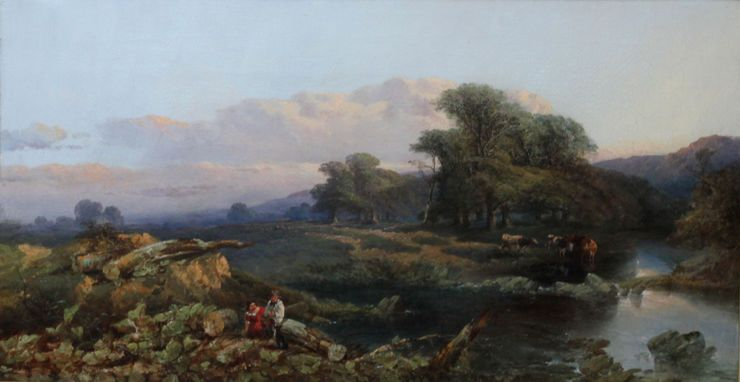 Thomas Edwards Landscape With Cattle And Peasants Victorian Landscape Oil Painting Browse Richard Tayl Oil Painting Landscape Landscape Paintings Landscape