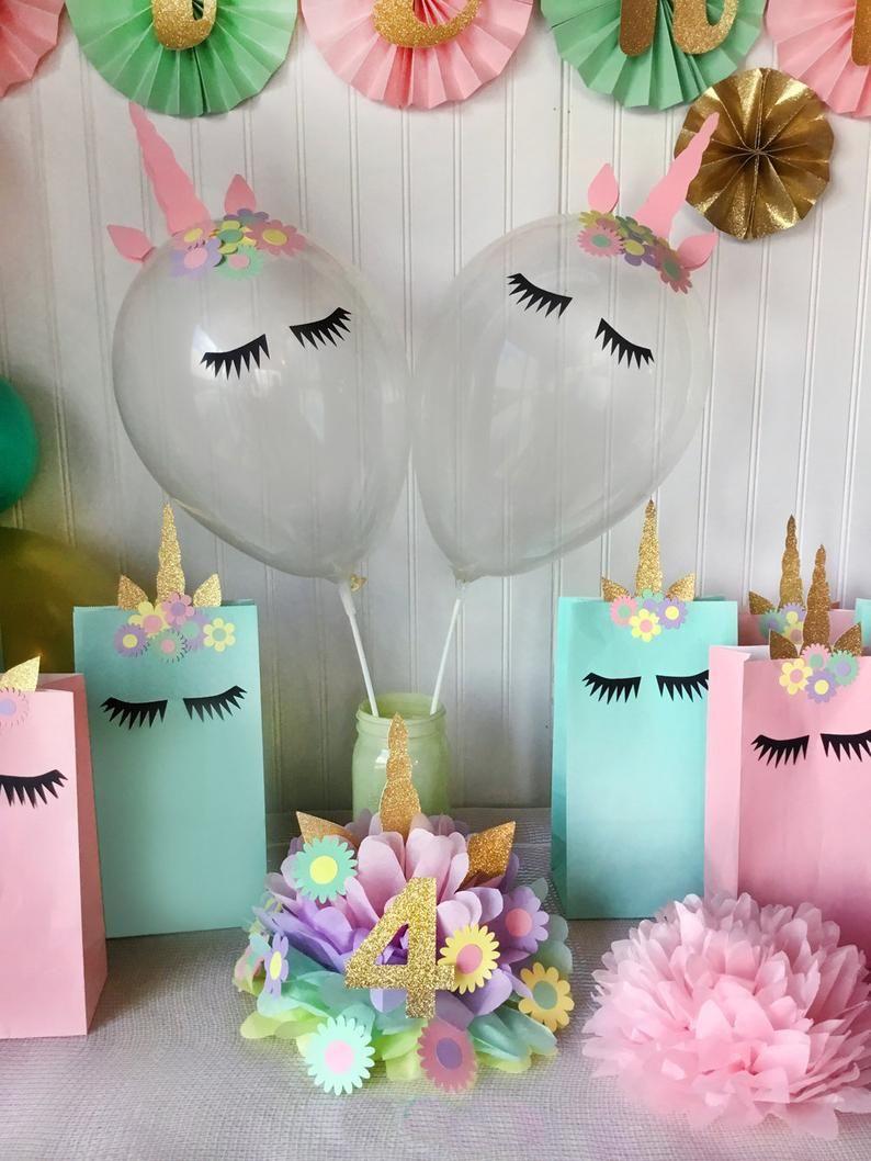 Einhorn Party Herzstück oder Cake Topper Dekoration für Geburtstagsfeier, Pastell Dekor Macaron Makronen Baby Shower Party Dekor
