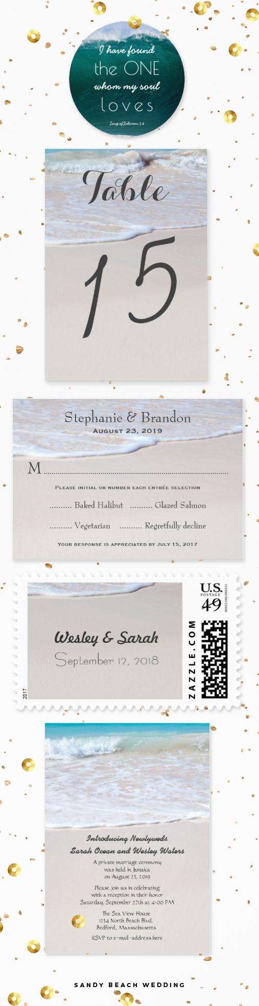 Beach sand wedding invitations, custom postage stamps, menu reply ...