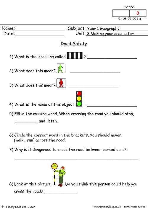 road safety worksheet school pinterest safety worksheets and geography. Black Bedroom Furniture Sets. Home Design Ideas