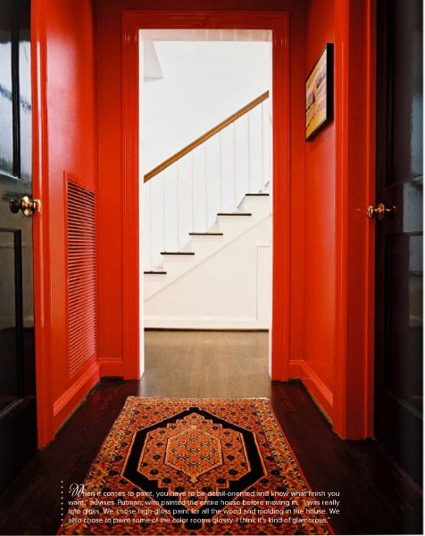 killer red wall and gorgeous rug