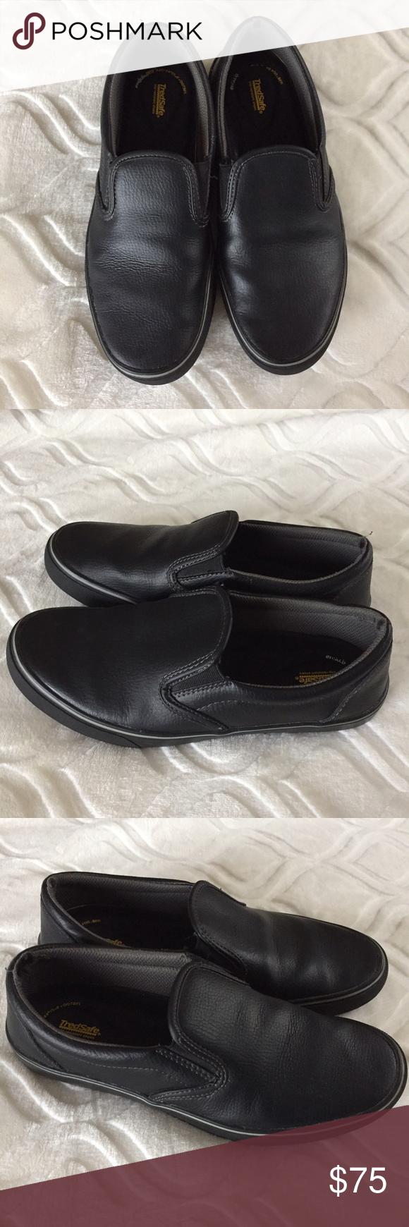 Black shiny slip on non slip work shoes