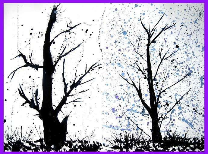 I'm going to use india ink  Paint tree: use medium brush for