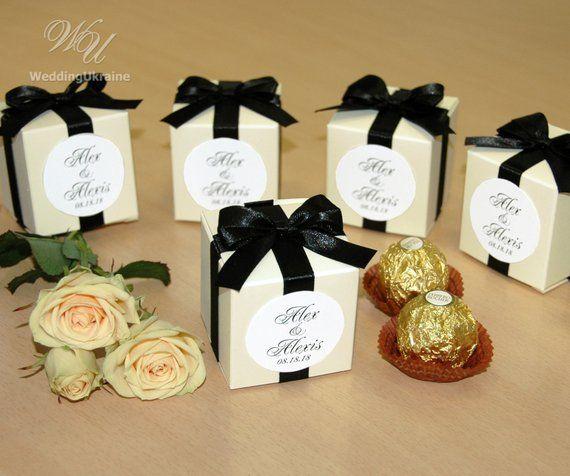 Ivory Wedding Favor Box With Black Satin Ribbon Bow And Custom Tag