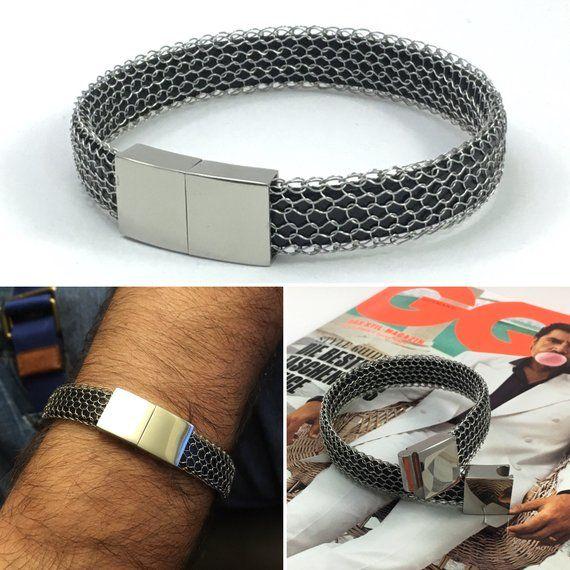 Gestricktes Edelstahl Armband Mit Magnetschliesse Und Schwarzem Leder Oder Kautschukband Jewelry Bracelets Mens Bracelet Jewelry
