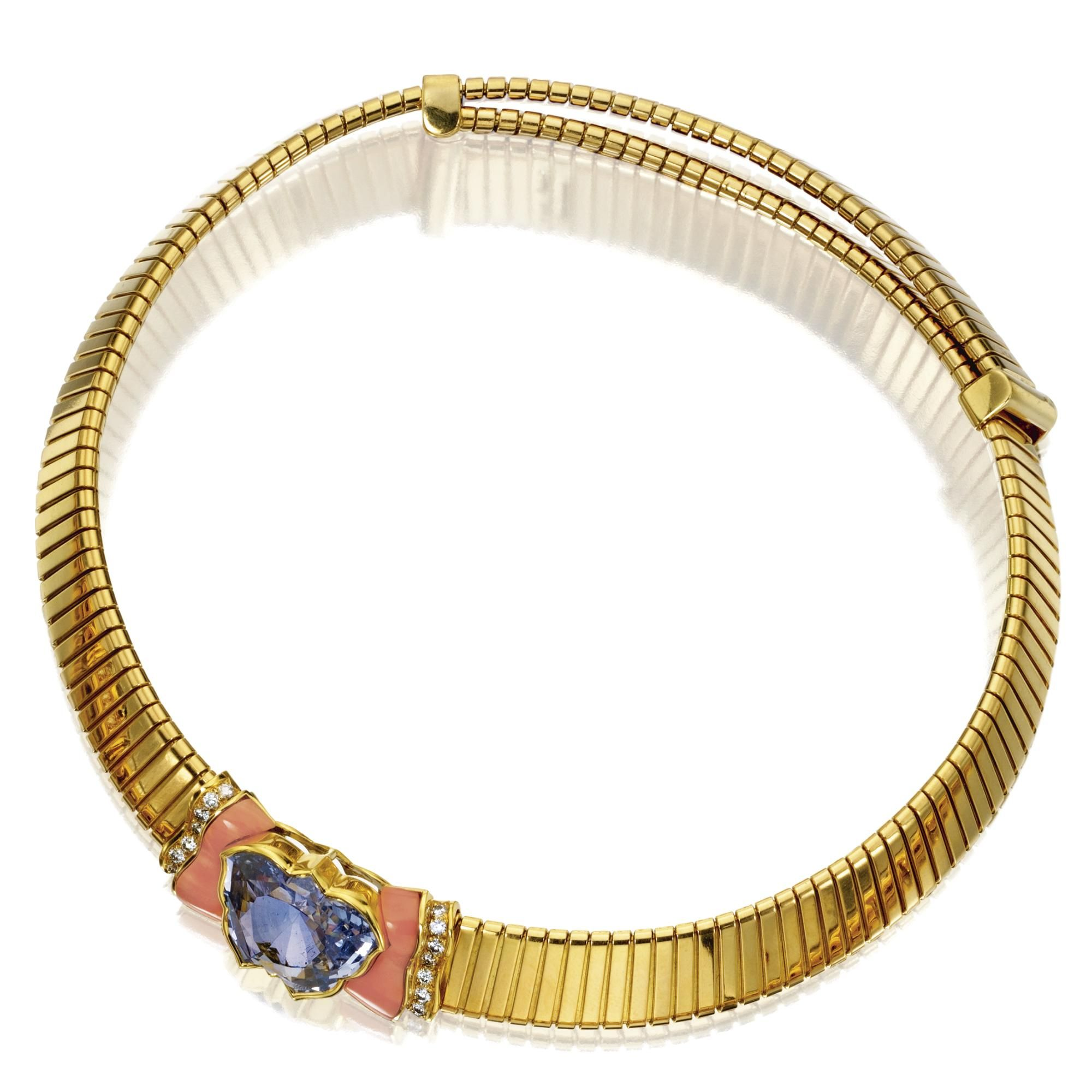 karat gold sapphire coral and diamond necklace bulgari the