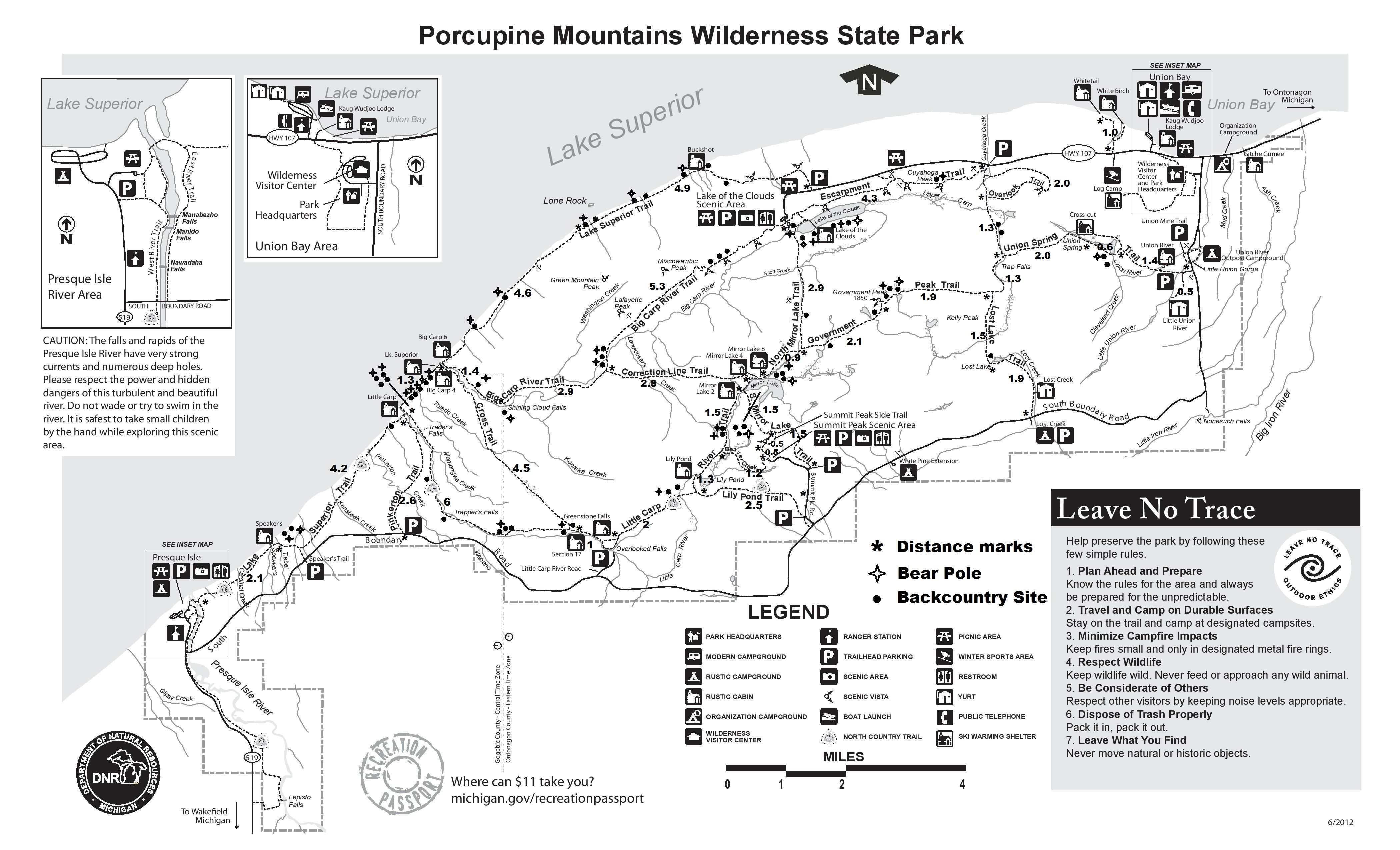 Image result for porcupine Mountains Trail Map   Porcupine Mountains ...
