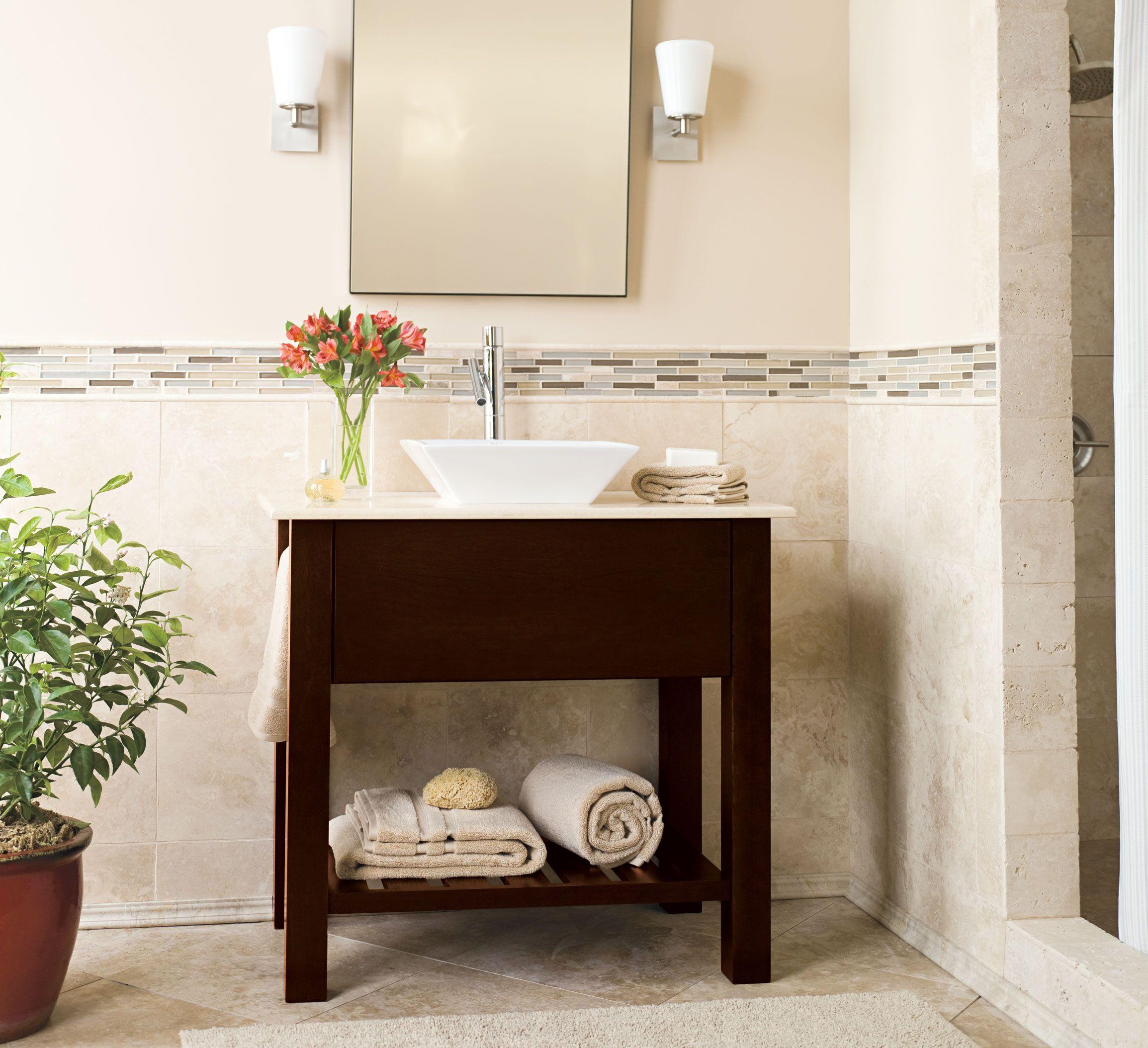 Keep your bathroom sleek and simple with the Homestead ... on Bathroom Ideas With Maple Cabinets  id=43050