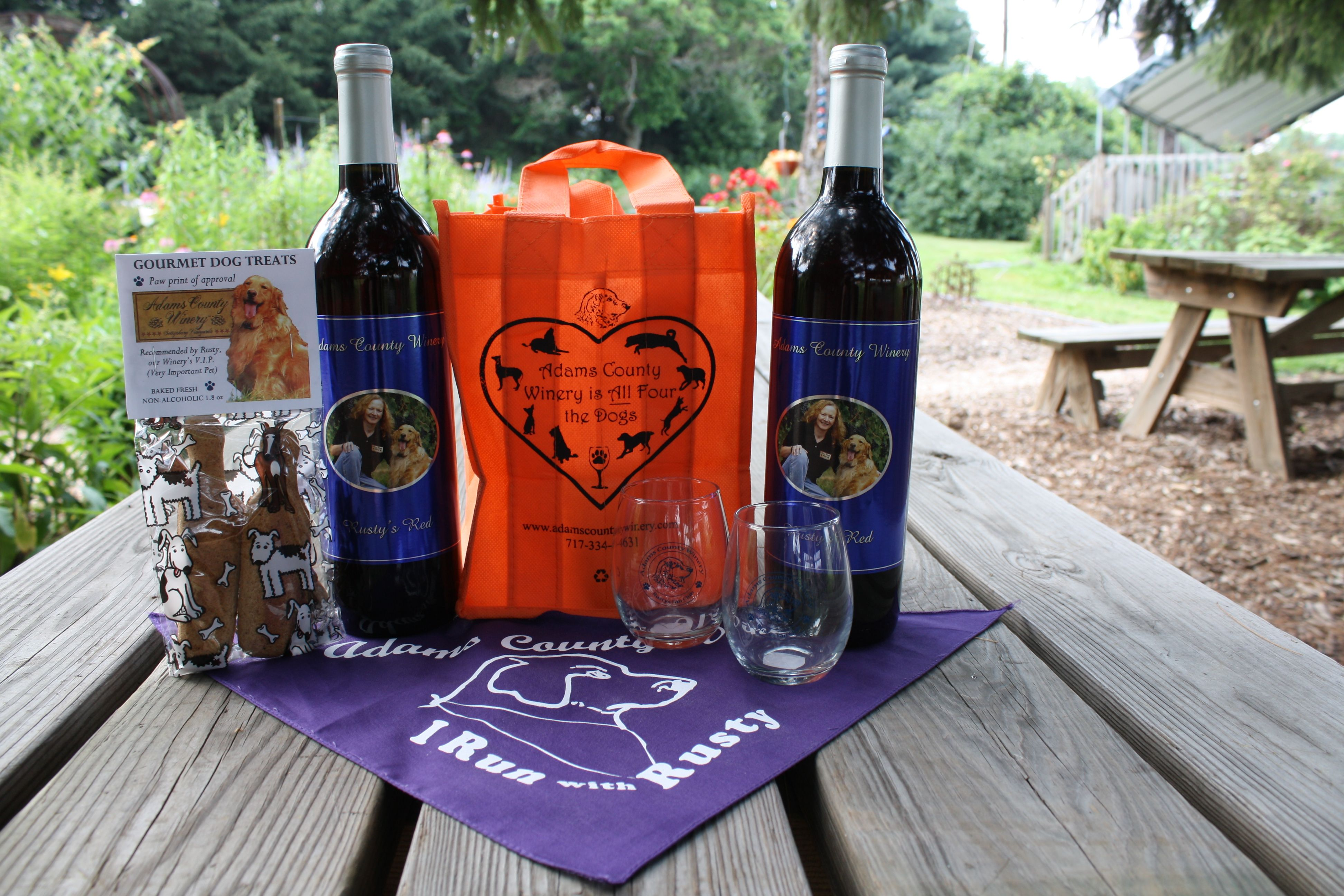 All Things Rusty Rusty S Red Wine Rusty S Dog Treats The All Fours 4 Bottle Tote And The Rusty Bandana Dog Treats Tasting Room Gourmet Dog Treats