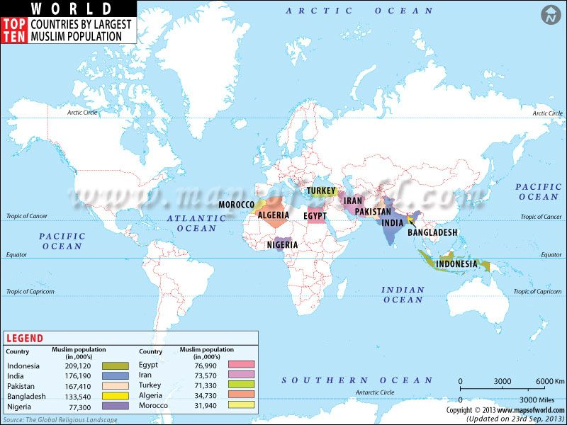 Top Ten Countries With Largest Muslim Population Maps - Islamic population in world
