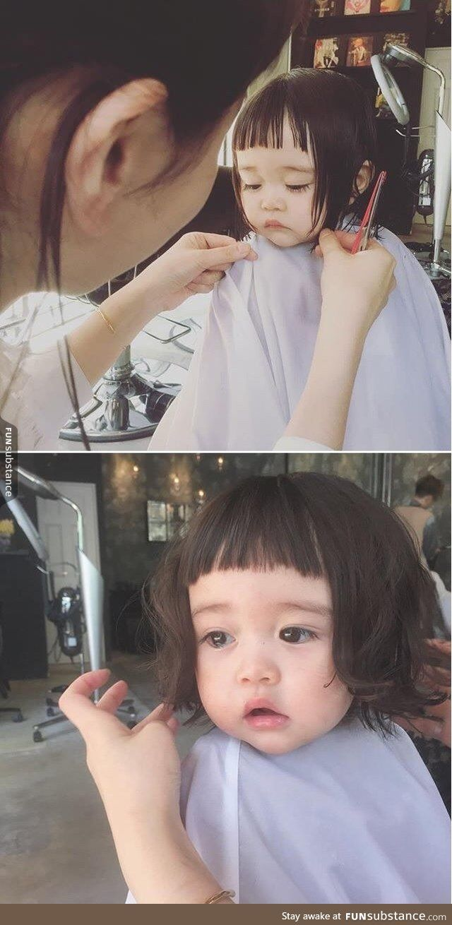 Little Girl Getting Her First Haircut Haircuts And Funny Things