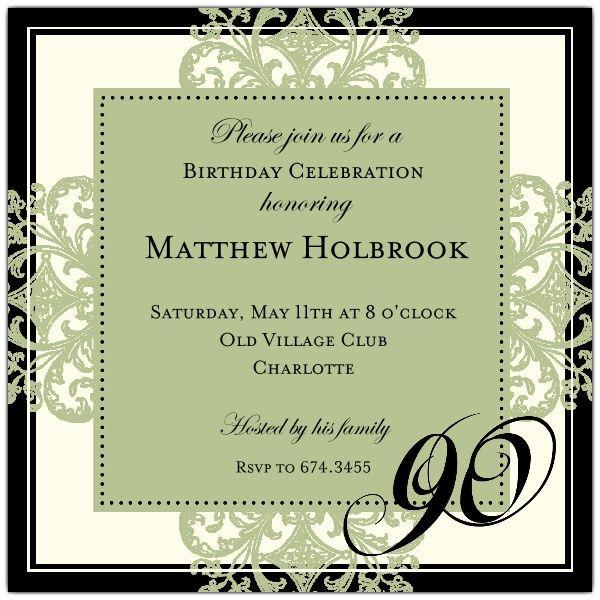Th Birthday Invitations Templates New Invitations Pinterest - 90th birthday invitation templates