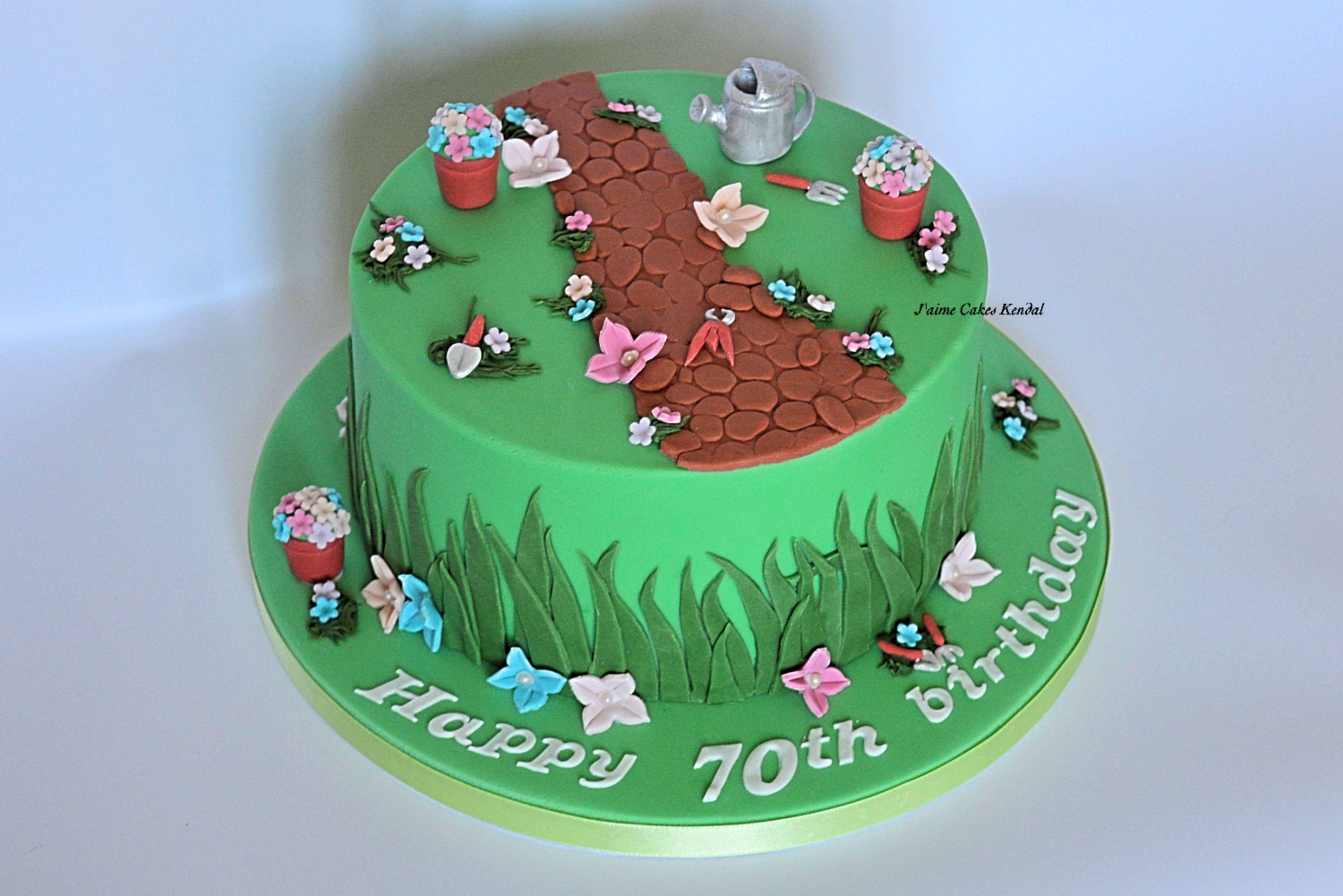Garden cake Ladies 70th birthday httpwwwjaimecakeskendalcouk