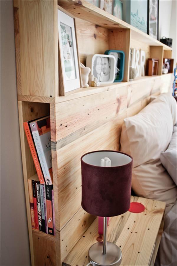 Elegant DIY Pallet Headboard With Shelves | Pallets