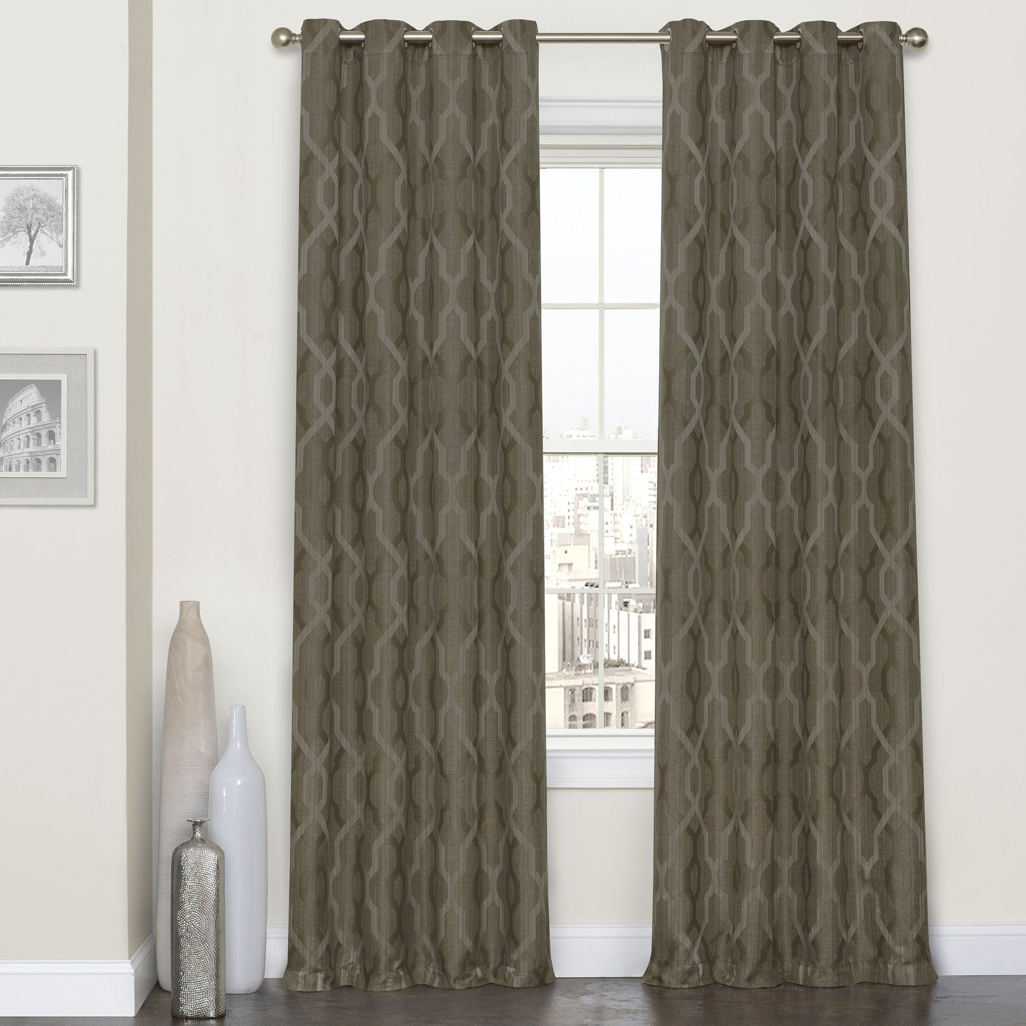 Dennis Geometric Blackout Thermal Grommet Single Curtain Panel