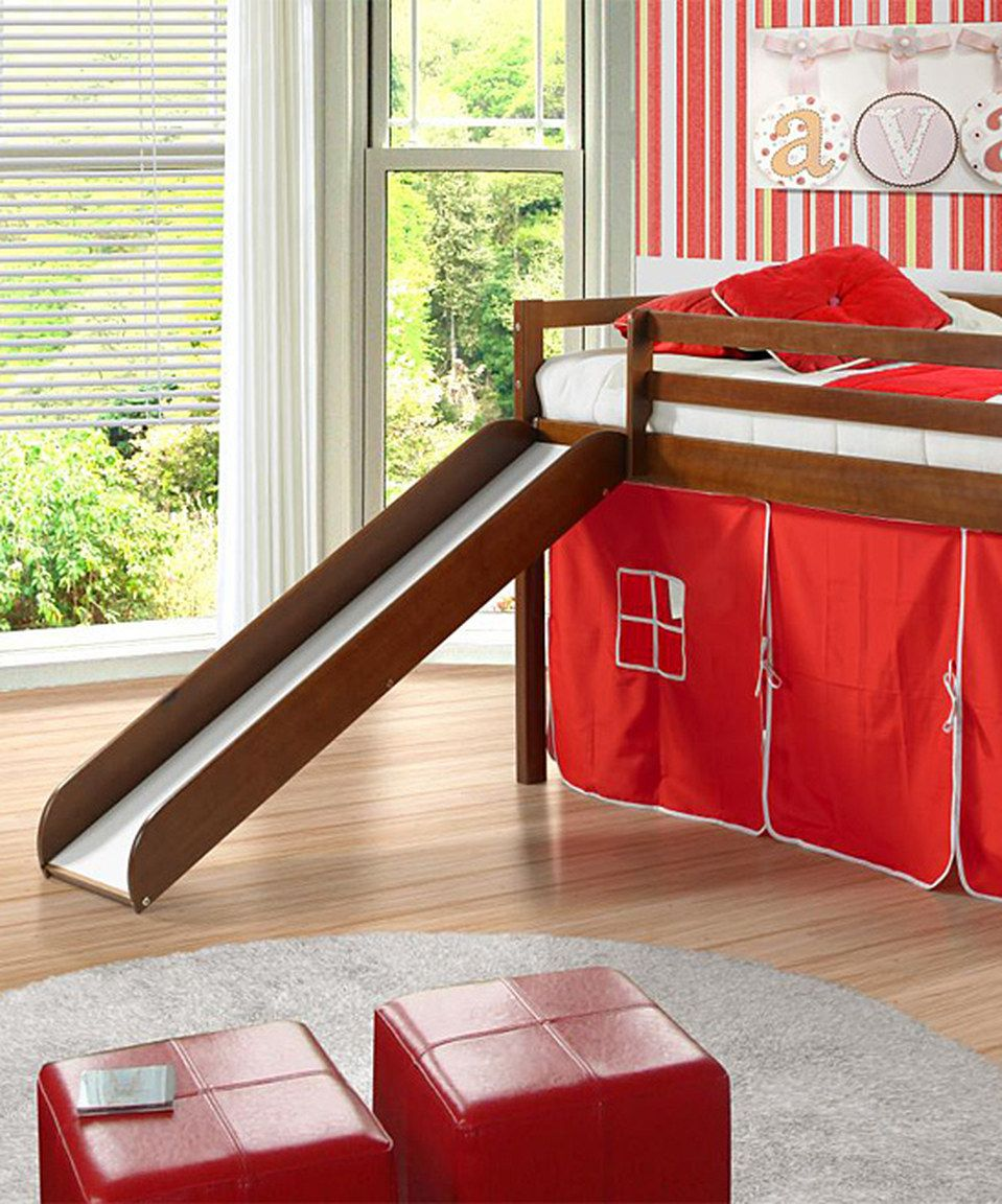 Red & Espresso Tent Loft Bed & Slide by Donco Kids zulily