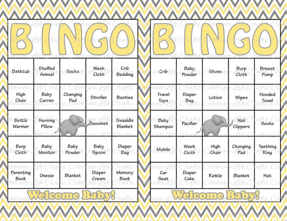 30 Baby Shower Bingo Cards   DIY Printable Party Gender Neutral   Instant  Download   Yellow