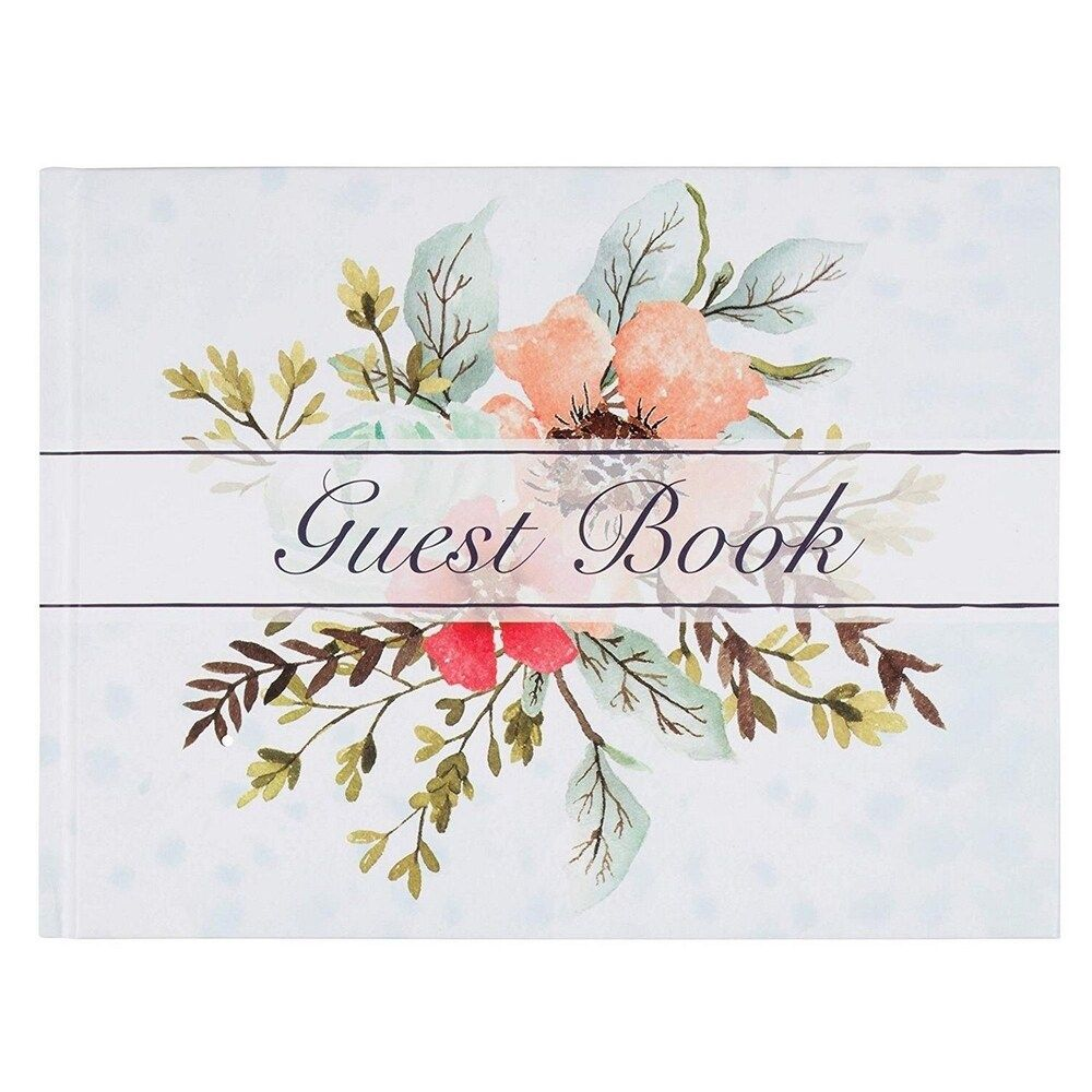 """Sustainable Greetings Guest Book for Wedding Baby Shower Party, Floral, 8"""" x 6"""", Multicolor"""