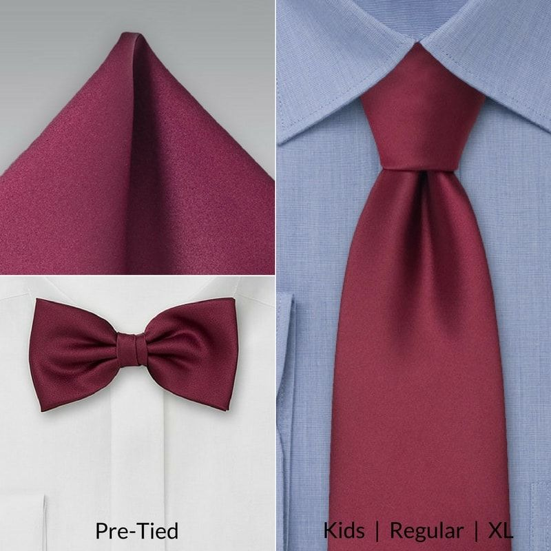 5c2281e8319d0 Matching kids, XL, and adult neckties to pocket squares and bow ties in  burgundy