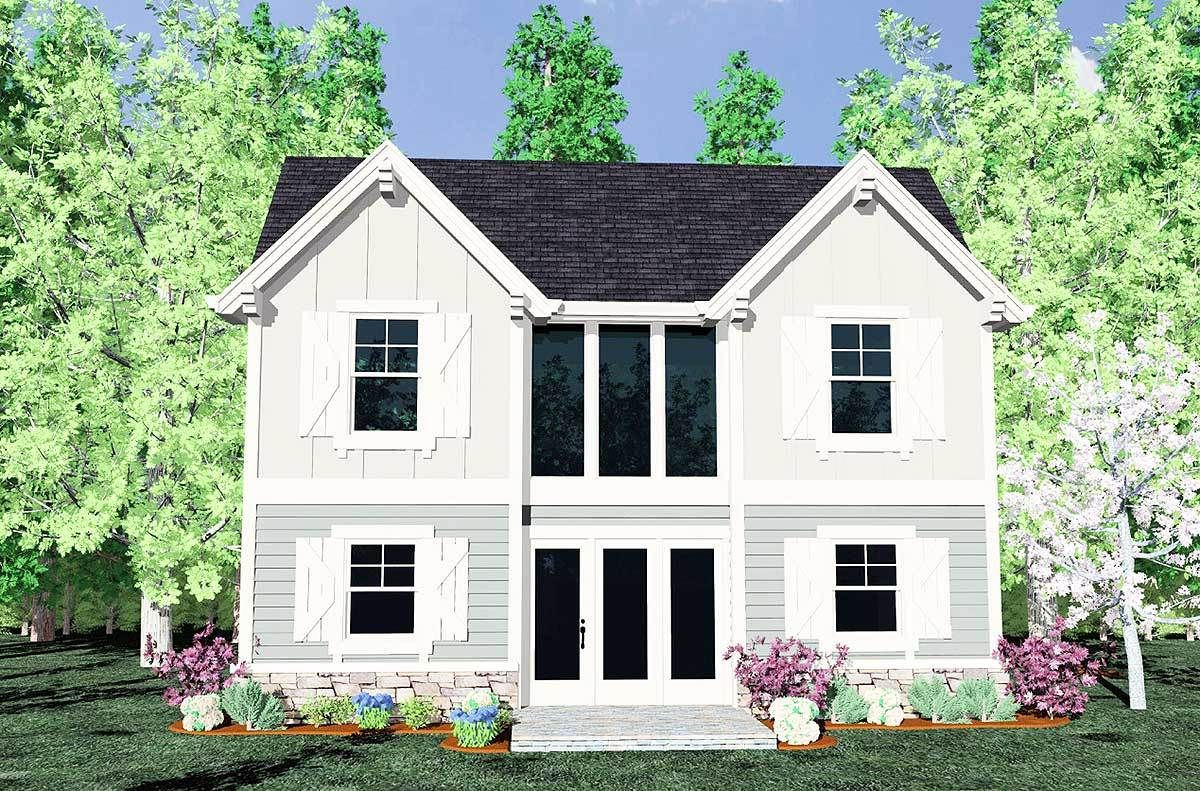 Plan 85075ms Twin Gables Townhouse Modern Style House Plans House Plans Cottage House Plans