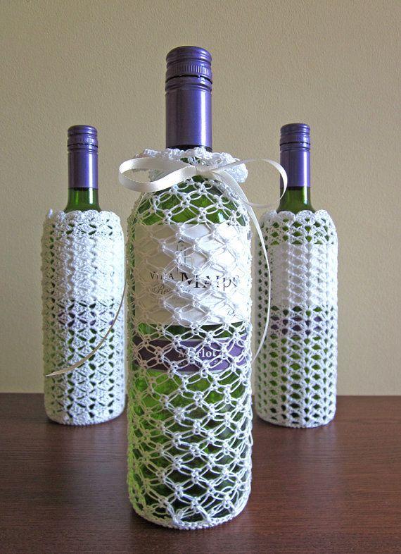 Wine Bottle Cover White Lace Crochet Bottle Cozy By Deerseason 28 00 Wine Bottle Covers Crochet Jar Covers Bottle Cover