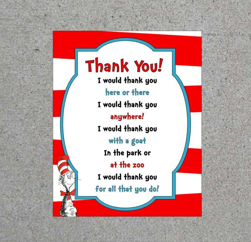 Dr  Seuss Thank You Sign Teacher Appreciation End Of The