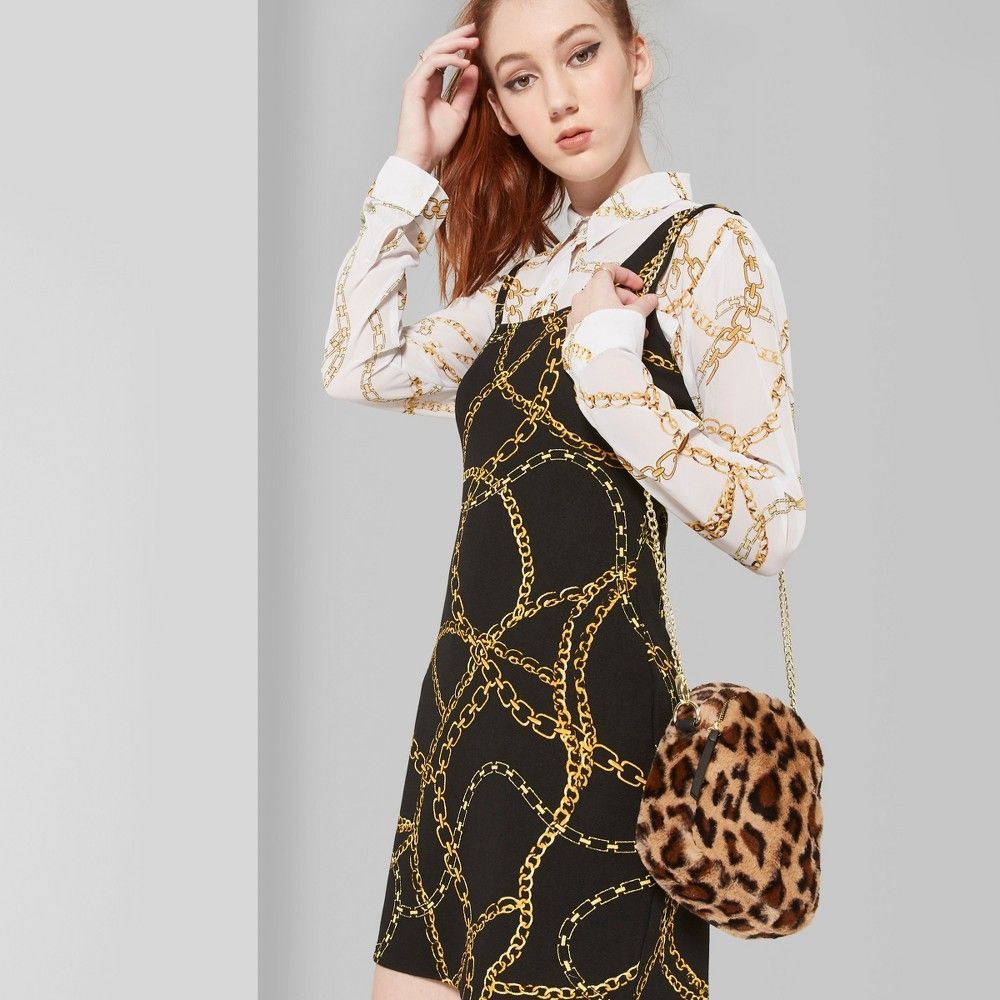 Mini Black Dress Designed With An Allover Chain Pattern In Gold Styled In A Form Fitting Silhouette That Hits Above The Kne Print Dress Mini Black Dress Women [ 1000 x 1000 Pixel ]