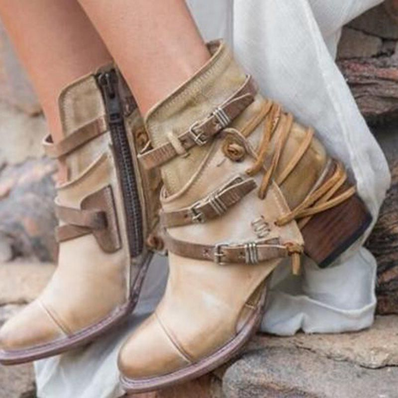 ad7486ab460 Vintage Cross Strap Buckle Chunky Heel Casual Women s Boots – hebedress.com
