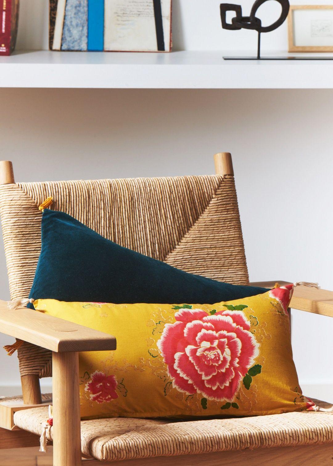sézane - coussin coton imprimé - sézane x caravane | maison