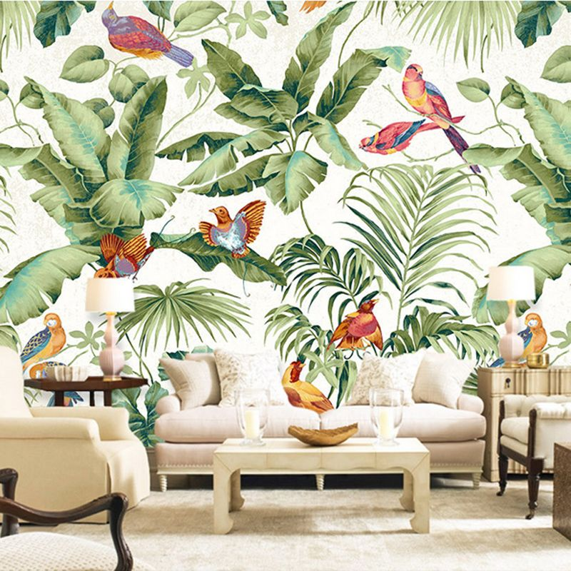 Free Shipping 3D stereo tropical garden flower bird painting style wallpaper bedroom TV background personality wallpaper mural