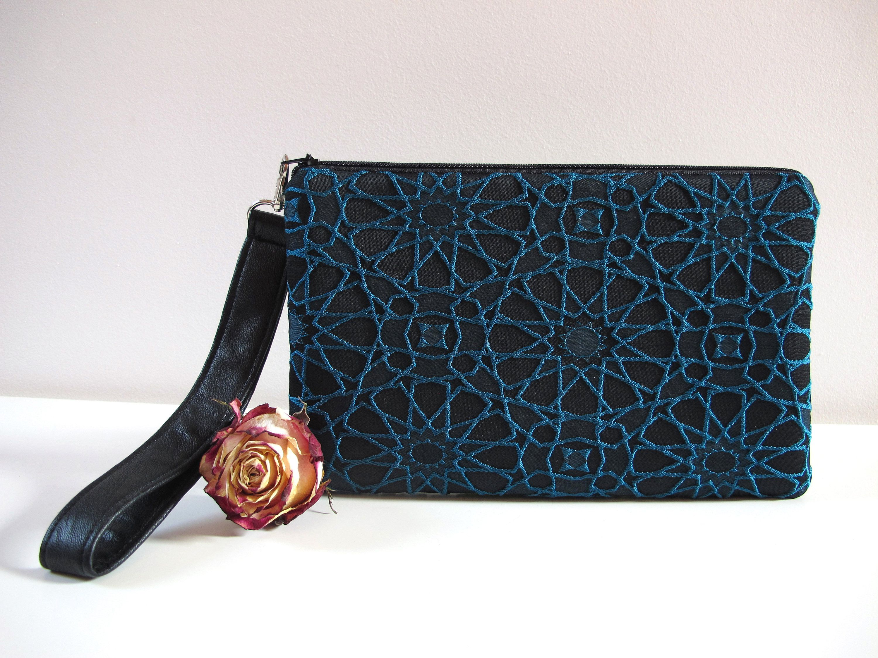 super popolare be435 431e0 Black and turquoise ceremony clutch   evening clutches nel ...
