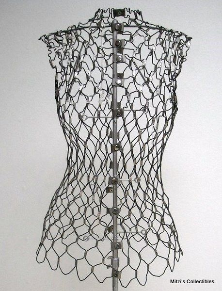 Vintage wire dress form - passed down from Dixie to Claire today ...