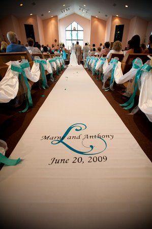 White Ceremony Blue Custom Monogram Aisle