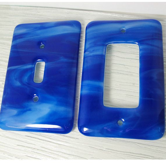 fused glass light switch plate cover and wall outlet cover on wall outlet id=59622