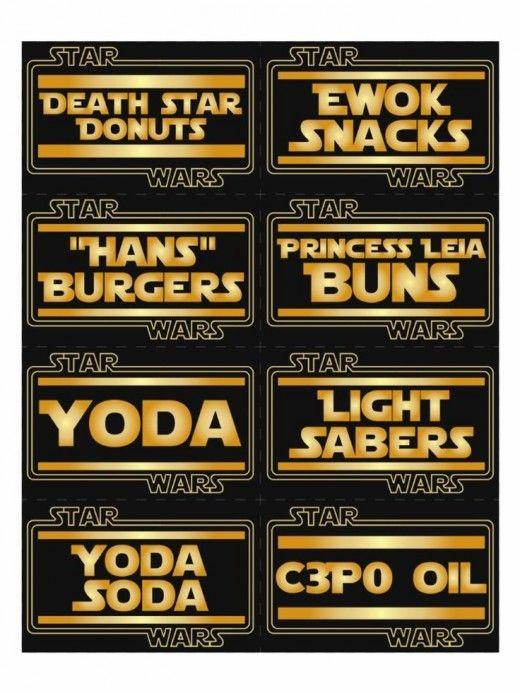 free star wars party food printable stickers labels. Black Bedroom Furniture Sets. Home Design Ideas