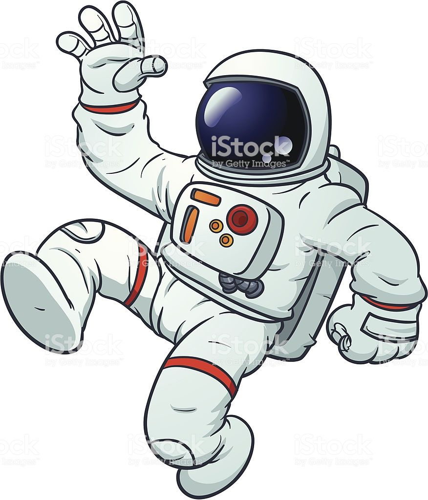 Cartoon Astronaut Floating Vector Illustration With Simple