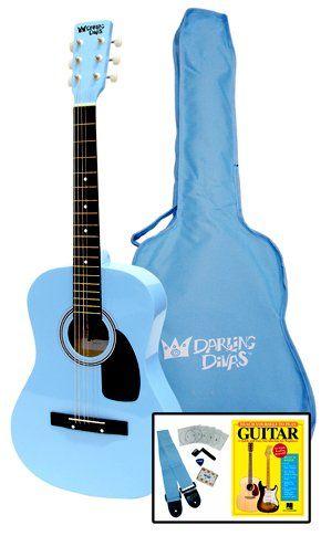 7c7c807616e Darling Divas Acoustic Steel String Guitar Package for Girls Color Powder  Blue Includes an acoustic guitar color gig bag strap picks pitch pipe tuner  string ...